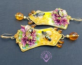 Honeybee in flower earrings in Art Nouveau style,Bumble Bee Statement earrings, Bee jewelry, Bee gift for her