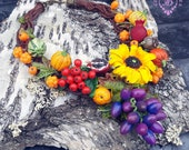 Autumn harvest rustic necklace, Thanksgiving necklace, Autumn festive necklace, Woodland Botanical Nature necklace,Fall jewellery gift