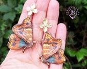 Emperor Moth Statement earrings, Butterfly earrings, Moth earrings, Moth jewellery, Insect earrings, Butterfly jewellery, Nature earrings