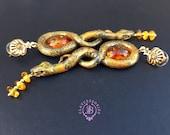 Amber Snake statement earrings, Snake jewellery, Snake charms, Snake gift, Reptiles earring