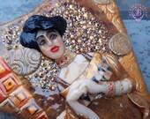 Gustav Klimt Woman in Gold necklace, Wearable Art handmade necklace, Symbolism necklace, Statement huge bib necklace, Mother gift for her
