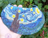 Starry Night bib necklace, Starry Night collar necklace, Starry Night Statement necklace, Starry Night choker, Wearable Van Gogh art jewelry