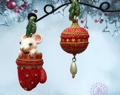 Christmas earrings, Mouse gift, Winter earrings , Christmas jewellery,Christmas gift, Christmas ornaments, Christmas charm toys decorations