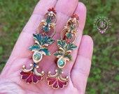 Art Nouveau style antique earrings, Tudor earrings, Baroque Edwardian earrings, Statement earrings, Vintage earrings, Victorian earrings