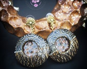 Klimt modern earrings Geometric earrings Circle black gold earrings Statement Bohemian earrings Art deco earrings Mother gift for her