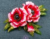 Poppy flowers brooch, Poppy summer pin, Remembrance Day Brooch