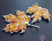 Autumn Maple leaves shaped earrings, Amber silver Leaf  Earrings, Fall Nature inspired earrings, Polymer clay leaf earrings