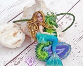 Mermaid statement necklace Seahorse necklace Agate necklace Nautical necklace Mermaid charm Ocean necklace Marine life necklace Sea necklace