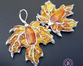 Maple Autumn  leaves shaped earrings, Amber silver Leaf  Earrings, Fall Nature inspired earrings, Polymer clay leaf earrings