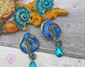 Seahorse shell Nautical earrings, Mermaid earrings, Seahorse charm, Seahorse gift, Summer beach jewellery, Sea earrings, Ocean earrings