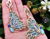 Butterfly Cloisonne earrings in Baroque style,  Butterfly jewellery, Butterfly charm gift, Nature statement earrings, Gemstone earrings