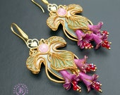 Art Nouveau nature flowers earrings, Vintage style floral earrings, Tudor elegant earrings,Baroque earrings, Statement polymer clay earrings