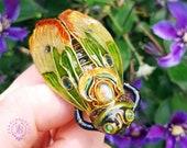 Cicada brooch Art Nouveau style, Cicada pin, Statement Insect brooch, Bug brooch, Beetle brooch, Nature brooch, Gemstone brooch,Cicada gift