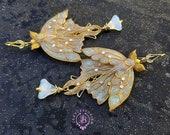 White Luna Moth shimmers wings earrings, Opal butterfly earrings, Gemstone earrings, Nature earrings, Moth charm gift, Butterfly jewelry