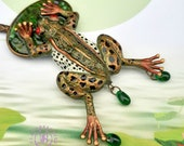 Vintage Frog necklace, Frog pendant, Frog charm,Frog Art jewellery, Animal necklace, Nature necklace, Polymer clay jewelry