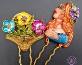 Pansies comb clips in Art Nouveau style, Flowers Hair accessories, Elegant hair clip, Gift for her