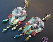 Crane earrings in Art Nouveau style, Heron statement earrings, Bird earrings, Crane jewellery, Nature earrings, Egret earrings, Crane gift