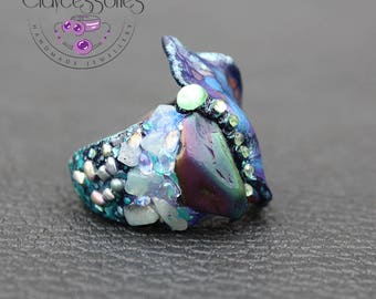 Butterfly Ring / Butterfly jewelry / Moth ring / Agate Druzy ring / Adjustable ring / Art ring / Statement ring /Big ring /Polymer clay ring
