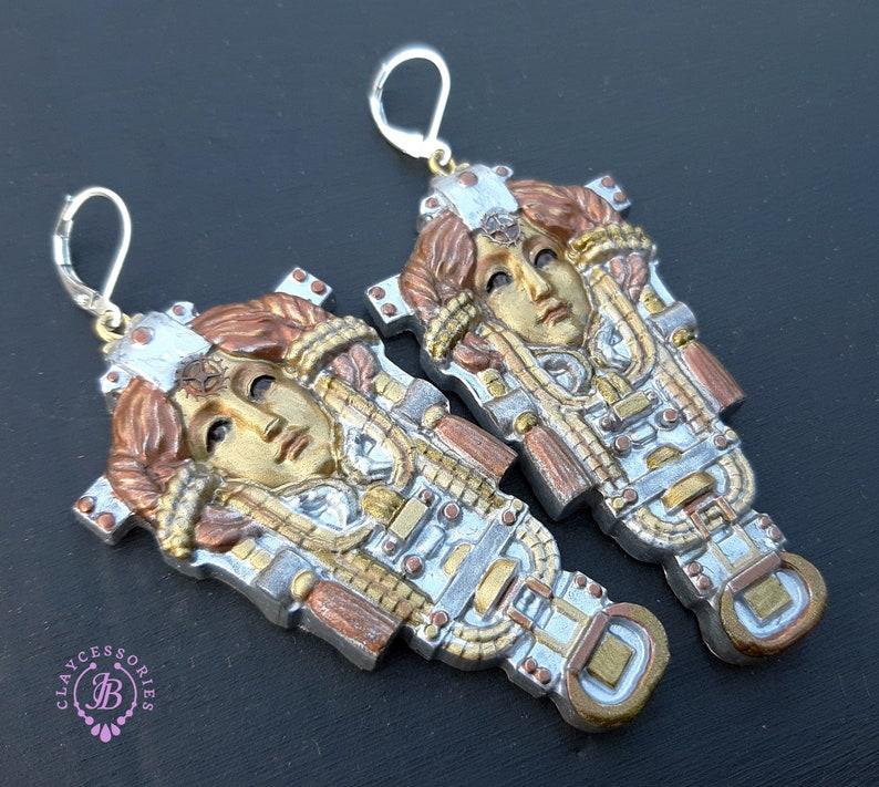 Steampunk Queen statement earrings image 1
