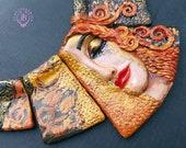 Freya's Golden Tears bib ART statement necklace, Lady face necklace