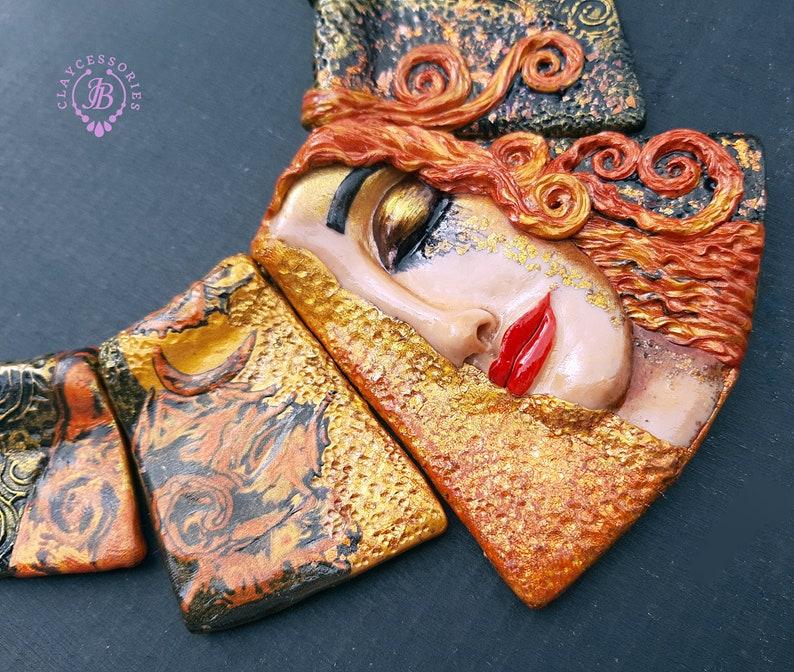 Freya's Golden Tears bib ART statement necklace Lady face image 1