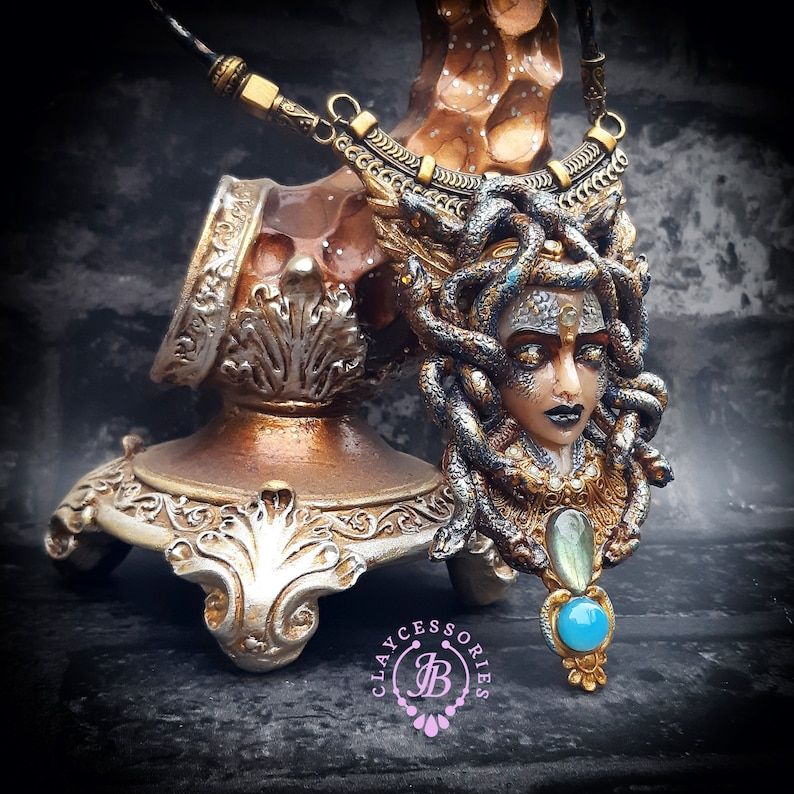 Medusa Gorgon Greek mythology necklace Medusa pendantSnake image 0
