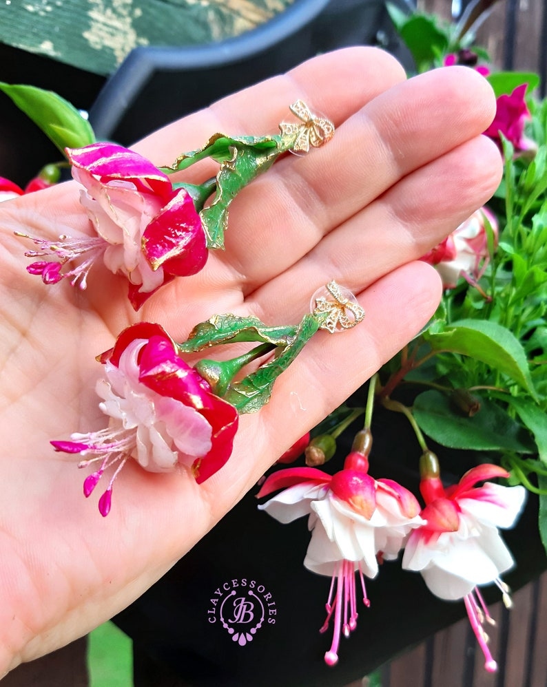 Fuchsia floral earrings Summer Flowers statement earrings image 0