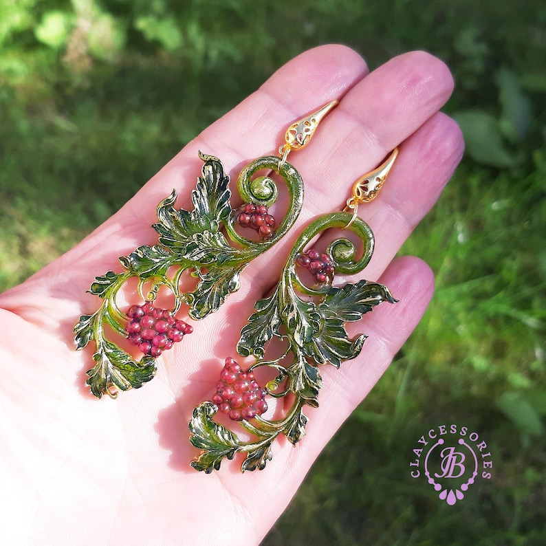 Art Nouveau Grapes earrings Vintage earrings Botanical image 0