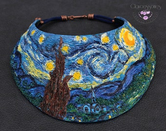 The Starry Night necklace / Art of Vincent Van Gogh / Statement necklace / Bib necklace / Choker necklace / Polymer clay necklace