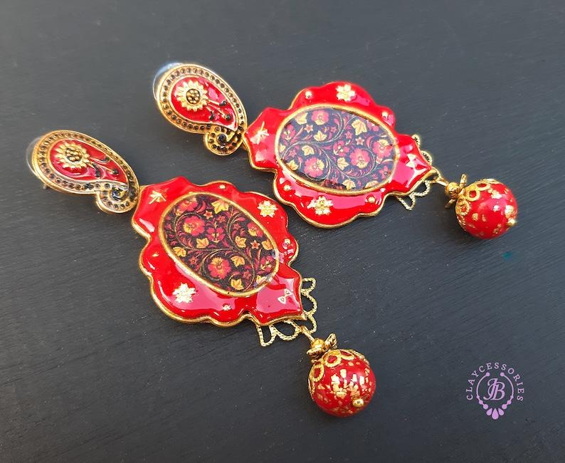 Russian Imperial style earrings Royal Faberge earrings image 0