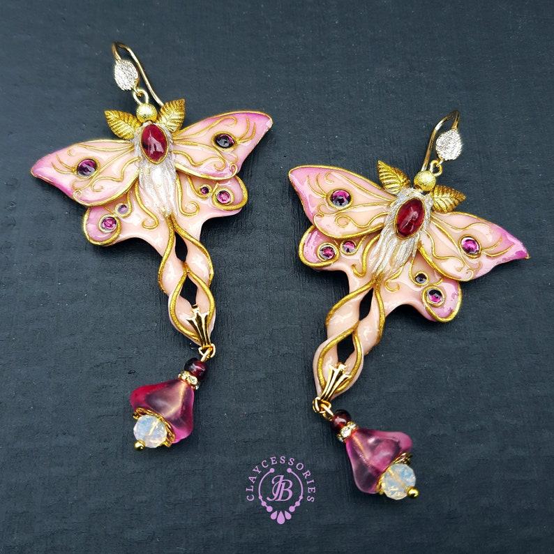 Pink Luna Moth earrings in Art Nouveau style Butterfly image 0