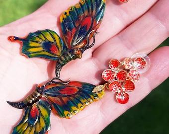 Butterfly earrings in Art Nouveau style