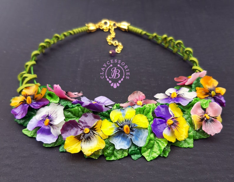 Pansies summer bib necklace Statement nature flowers image 0