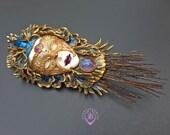 Peacock Venetian mask brooch pin pendant