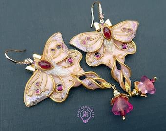 Pink Luna Moth earrings in Art Nouveau style, Butterfly statement earrings, Garnet earrings,Butterfly charm, Butterfly gift for her