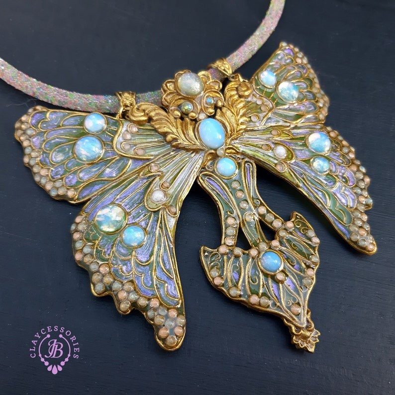 Luna Moth necklace in Art Nouveau style Statement butterfly image 0
