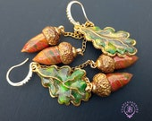 Autumn oak acorn leaves dangle earrings, Fall leaf Earrings, Nature inspired earrings