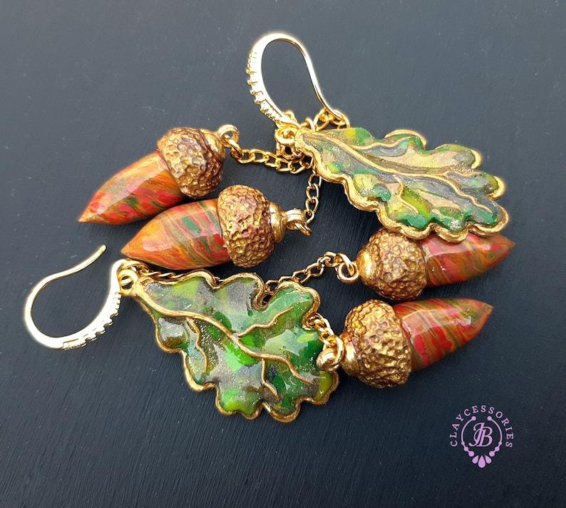 Autumn oak acorn leaves dangle earrings Fall leaf Earrings image 0