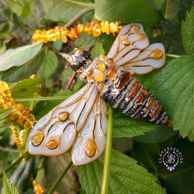 Bumble Bee amber necklace pendant Honeybee necklace Bee image 0