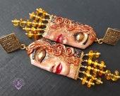 Golden Tears amber earrings, Lady face statement earrings
