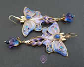 Luna Moth earrings purple blue in Art Nouveau style, Shimmers wings Statement earrings,Nature earrings, Luna moth charm, Butterfly gift