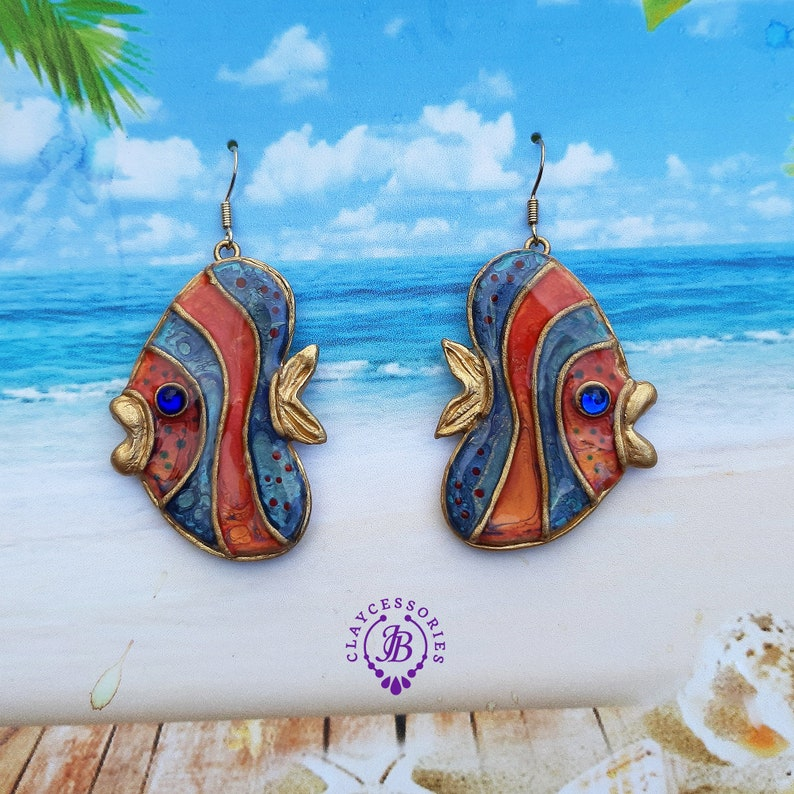 Summer Fish earrings Fish jewelry Pisces earrings Nautical image 0