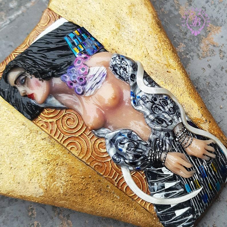 Gustav Klimt Judith necklace Wearable Art handmade necklace image 0