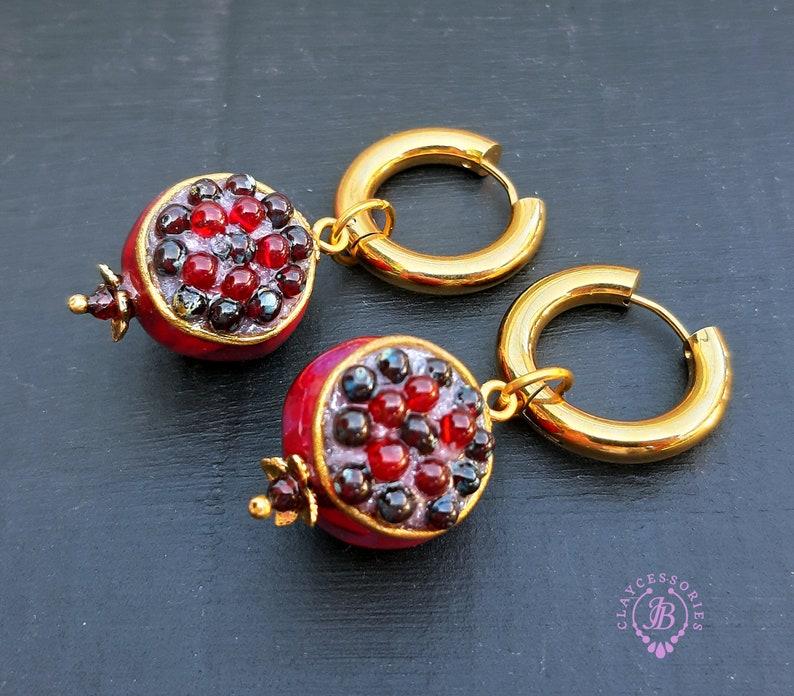 Pomegranate dangle Garnet earrings Pomegranate charm gift image 0