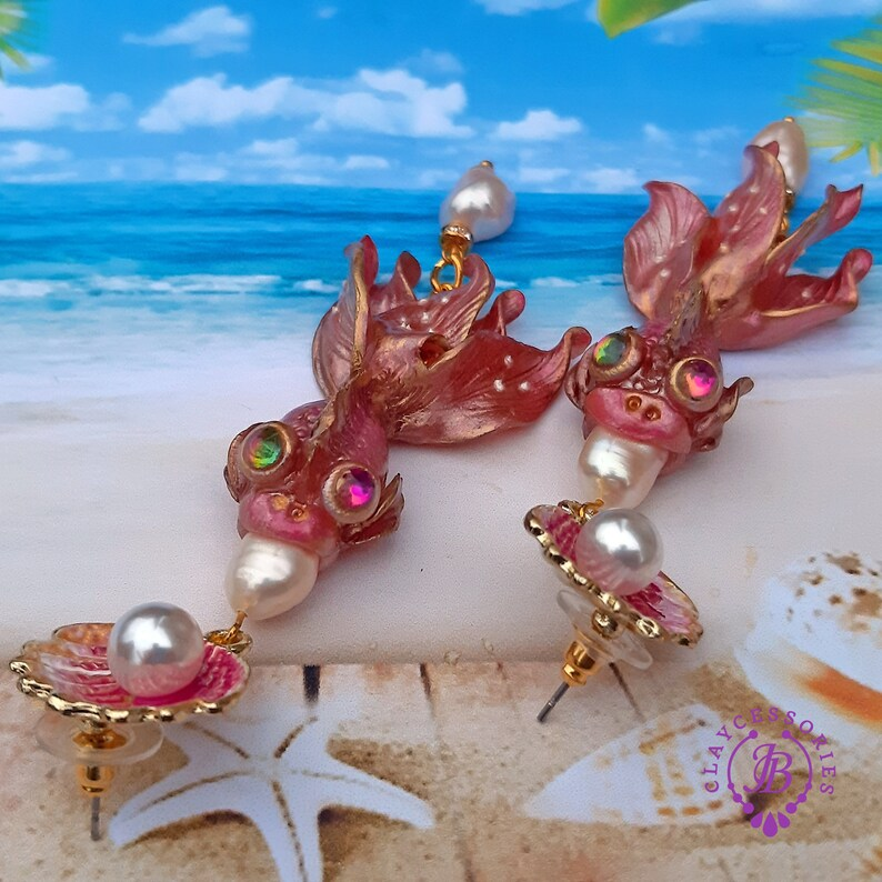 Pink Fish earrings Fish charm Fish gift Fish jewelry image 0