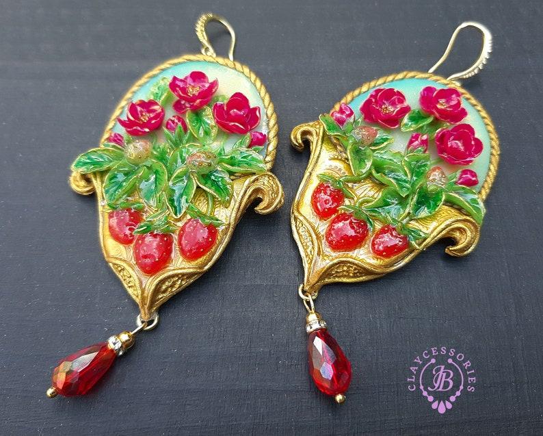 Strawberry Chandelier earrings in Art Nouveau style Fruits image 0