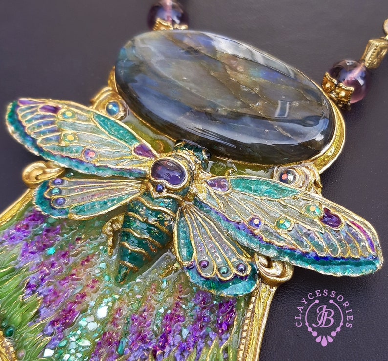 Art Nouveau cicada necklace Winged Insect necklace Butterfly image 0