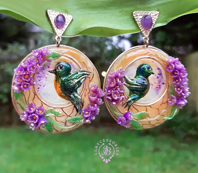 Spring Lilac flowers Art Nouveau earrings Birds earrings image 0