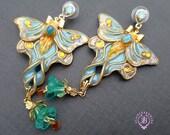 Luna Moth blue earrings in Art Nouveau style, Shimmers wings Statement earrings,Nature earrings, Luna moth charm, Butterfly gift