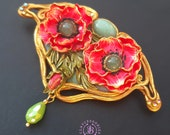 Poppy brooch in Art Nouveau style, Statement floral vintage style pin, Art Nouveau jewellery, Nature flowers brooch, Gift for her